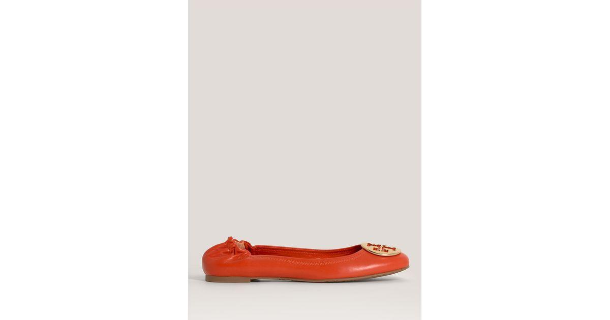 500aa9a7fc0 Lyst - Tory Burch Reva Leather Ballerina Flats in Orange