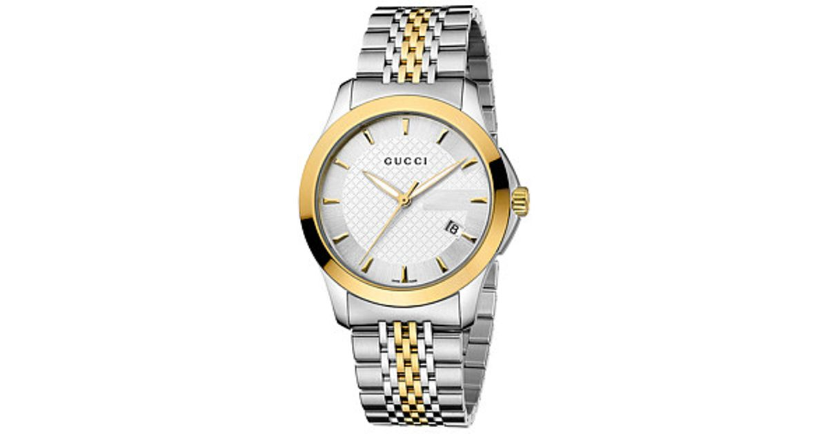 1f7b334b493 Lyst - Gucci G-timeless 38mm Two-tone Stainless Steel Watch-ya126409 in Gray