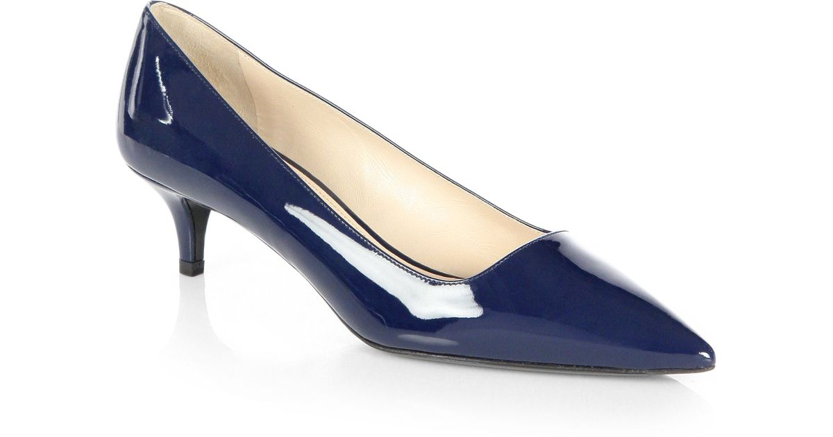 be13be6c15a Lyst - Prada Patent Leather Pumps in Blue
