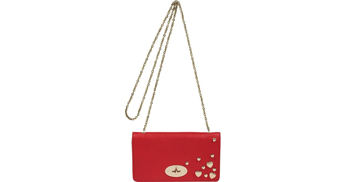 2ddc1d1ee3e9 ... clearance mulberry bayswater studded clutch wallet in red lyst 9c2cd  94878 ...