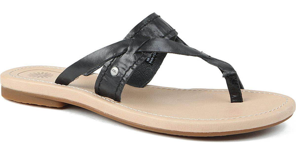 1a726ab9767 UGG - Black Mireya Leather Sandals - Lyst