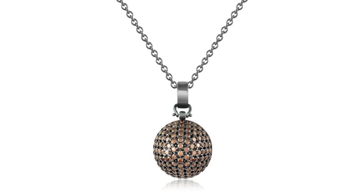 azhar semi sphere pendant necklace in silver lyst