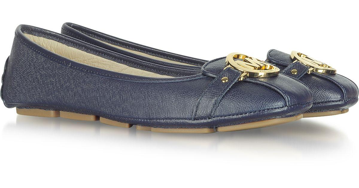 b073524fc052 Michael Kors Fulton Navy Blue Leather Flat Moccasins in Blue - Lyst