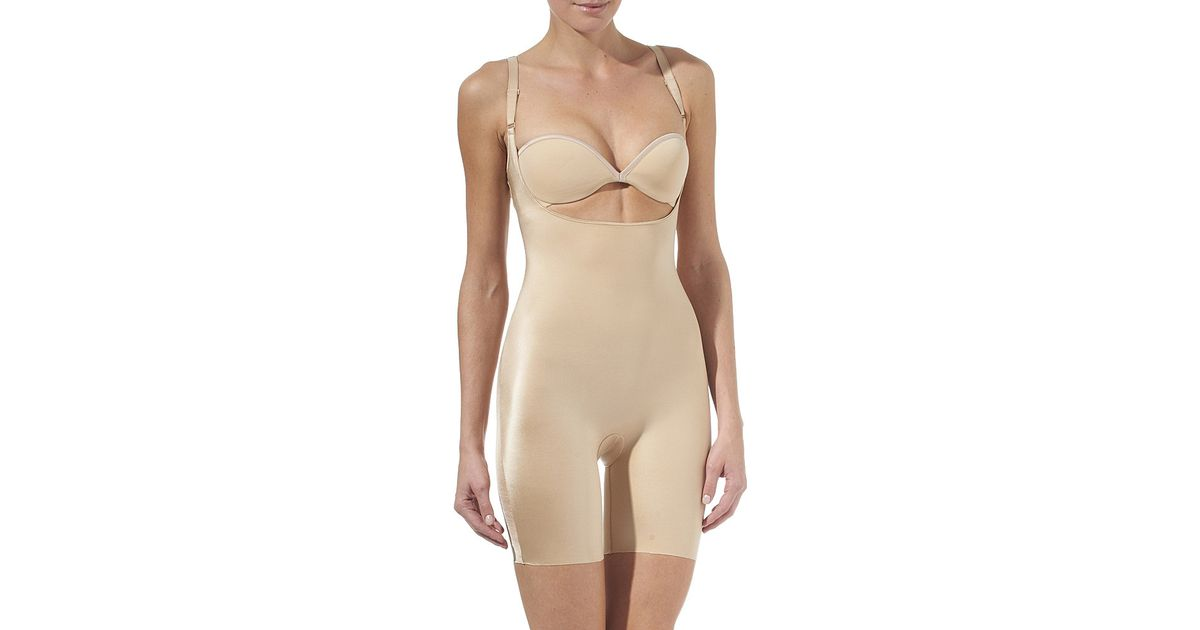 9bbd4e4ced833 Spanx Slimplicity Open-bust Slip Suit in Natural - Lyst