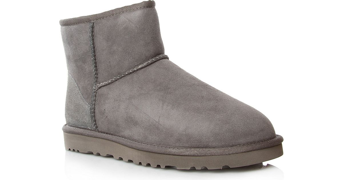 ugg classic mini sheepskin boots in gray lyst. Black Bedroom Furniture Sets. Home Design Ideas