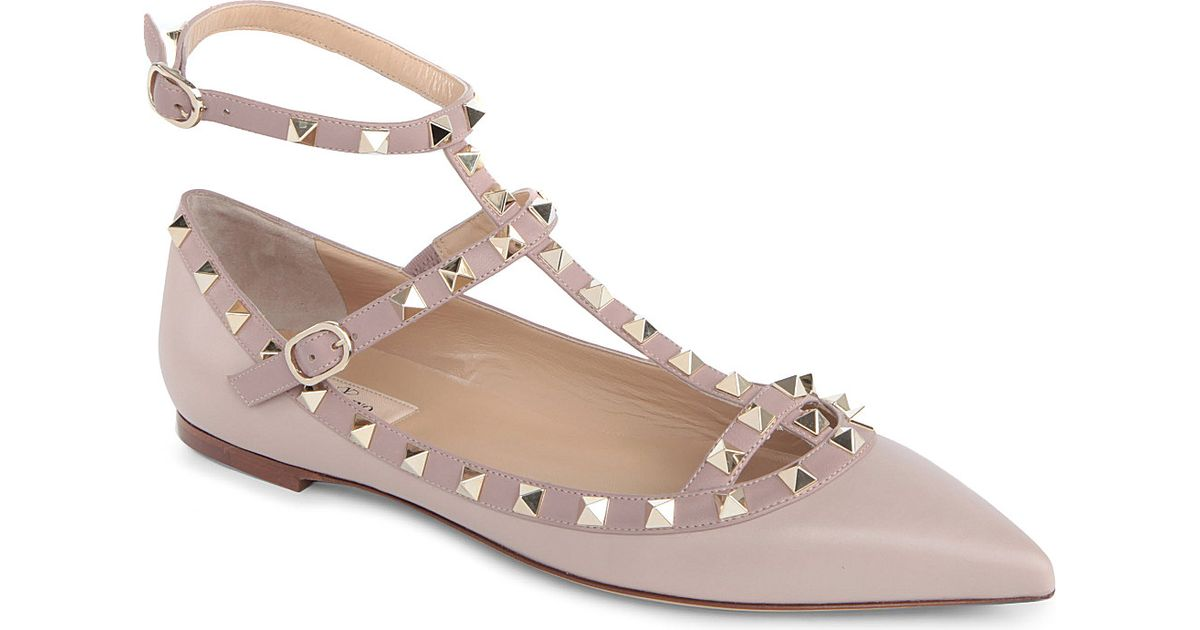 5971159b951a Valentino - Multicolor Rockstud Leather Pointed Toe Flats - Lyst