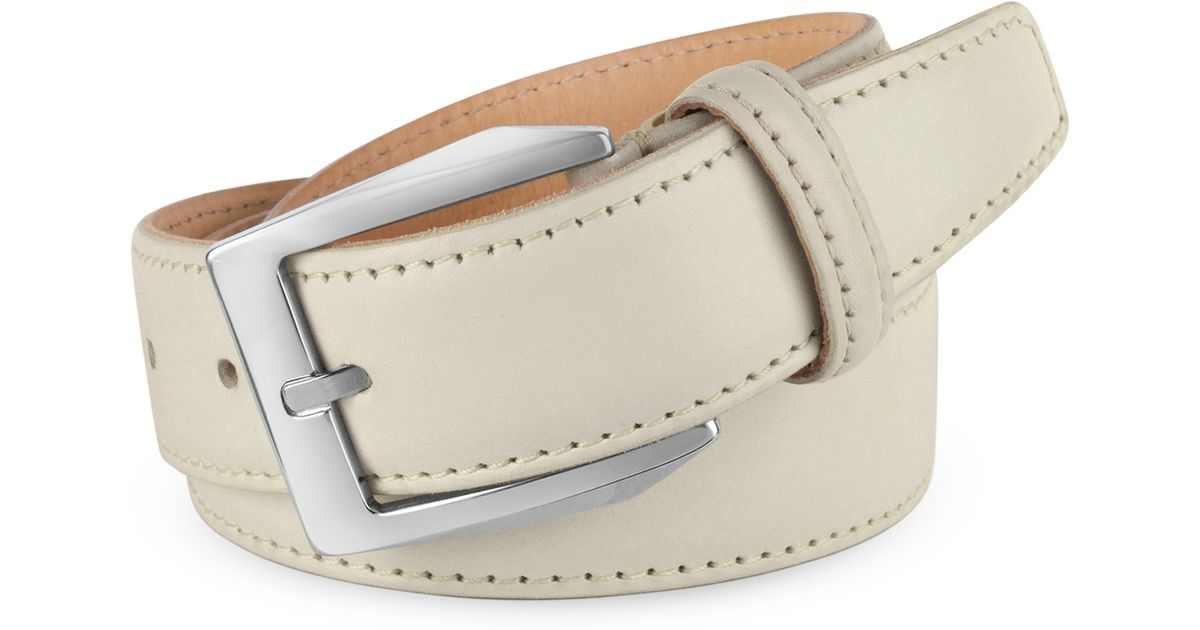 pakerson s white painted italian leather belt in