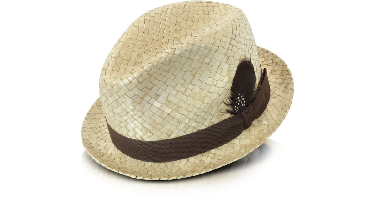 056545f3011559 Paul Smith Straw Feather Trilby Hat in Natural for Men - Lyst