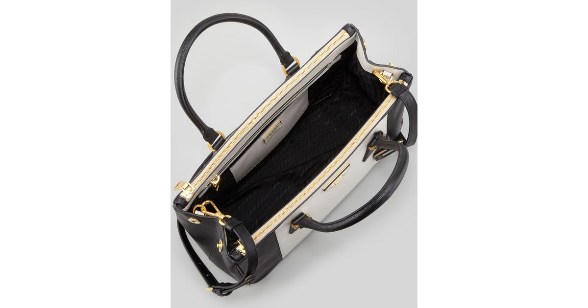3130aab4cb ... low cost lyst prada bicolor saffiano doublezip tote bag in black 84b1f  ae987