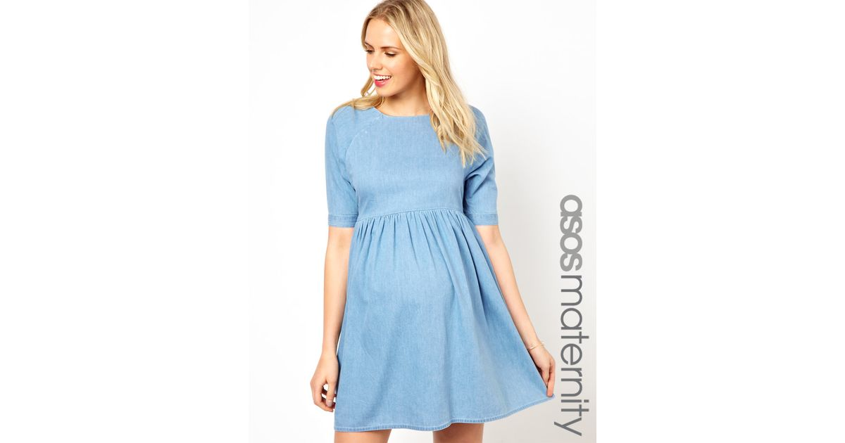 bc0859fd84b92 Fred Perry Asos Maternity Smock Dress in Denim in Blue - Lyst