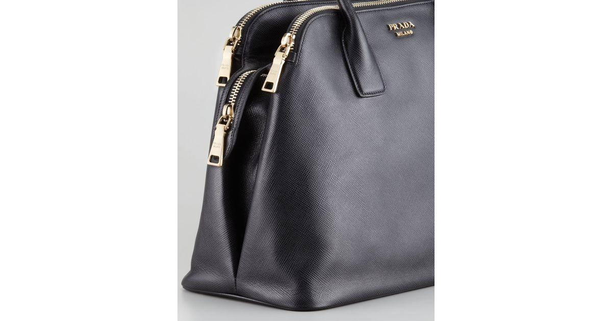 Lyst - Prada Saffiano Cuir Triplezip Dome Tote Bag in Black 49a5709973