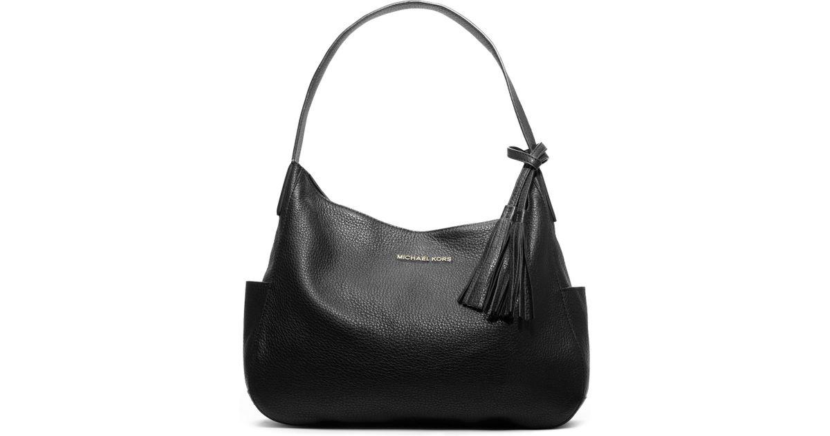095ae21fbdff ... authentic lyst michael kors large ashbury pebbled shoulder bag in black  c5f7a df0e4 ...