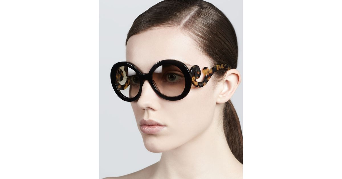 ade5d61a0bf2 ... reduced prada baroque round sunglasses in brown lyst a5995 fd1b1