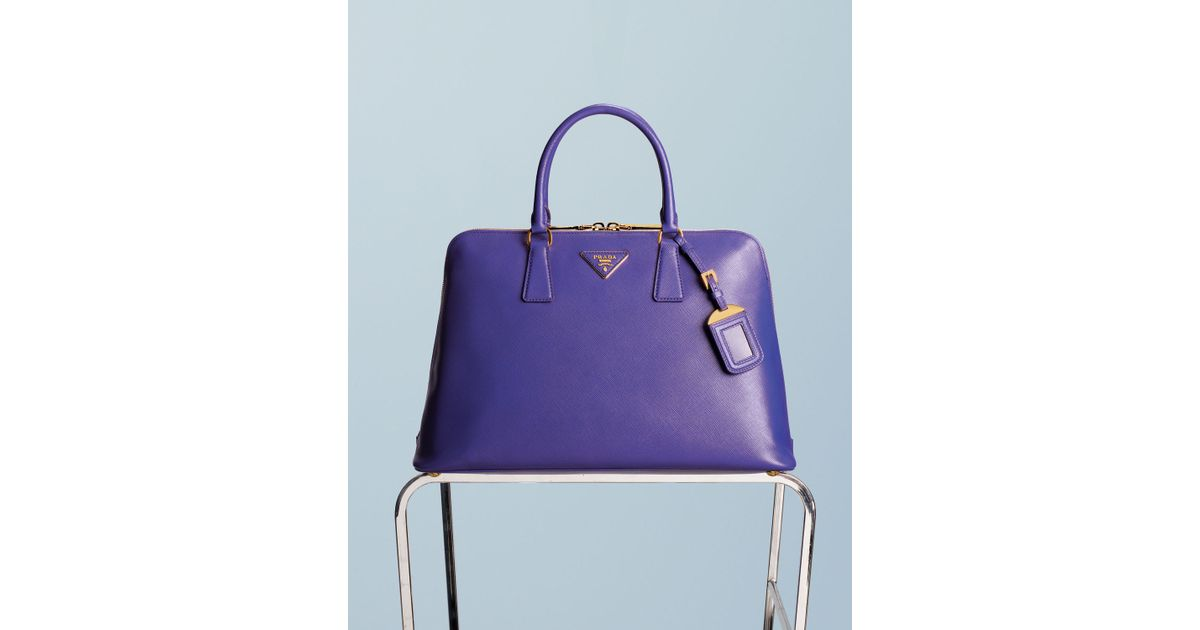 37cdc25a57 Lyst - Prada Saffiano Lux Twoway Zip Satchel Bag in Purple