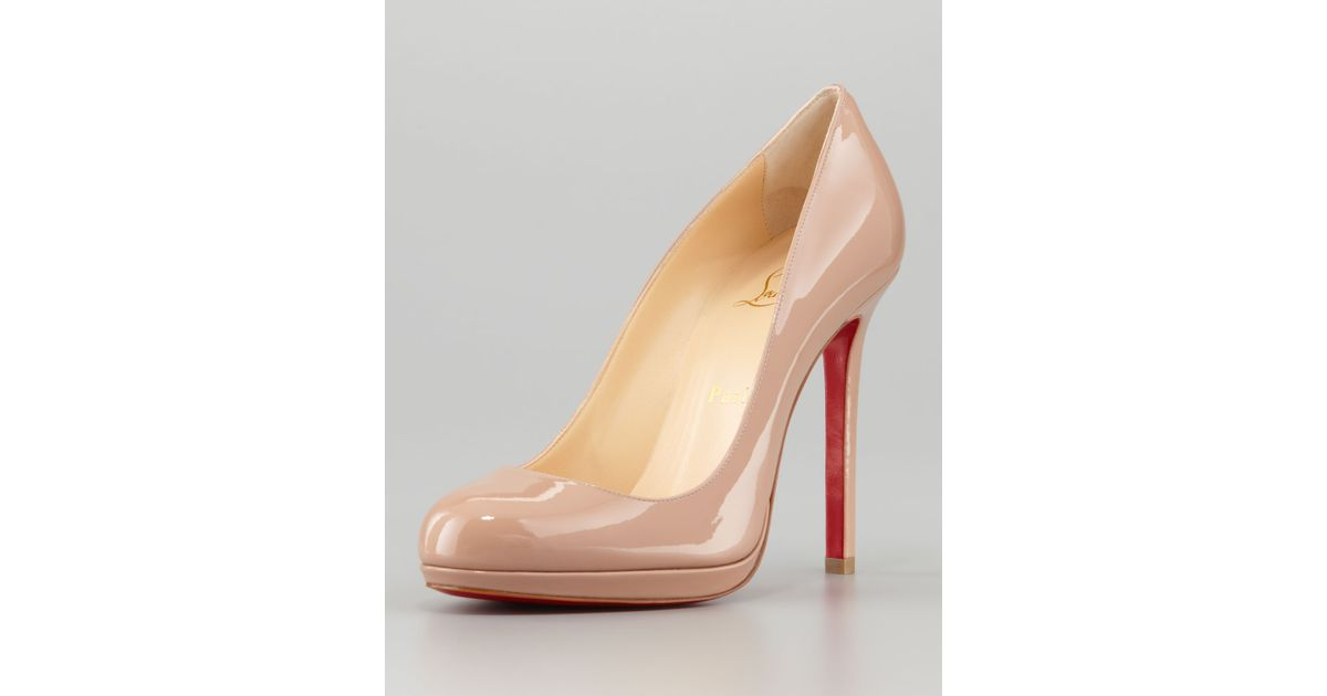 d3d7a390e70f Lyst - Christian Louboutin Neofilo Patent Roundtoe Red Sole Pump Nude in  Natural