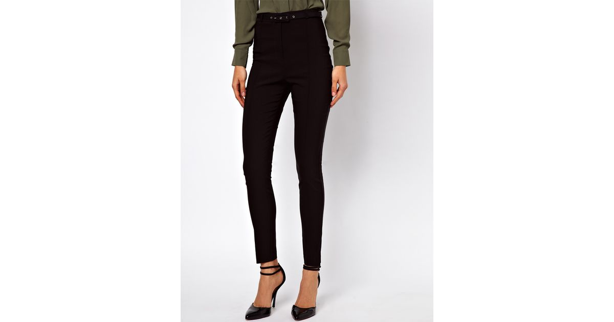 9ad8a87810a3 ASOS High Waist Belted Trousers In Skinny Fit in Black - Lyst