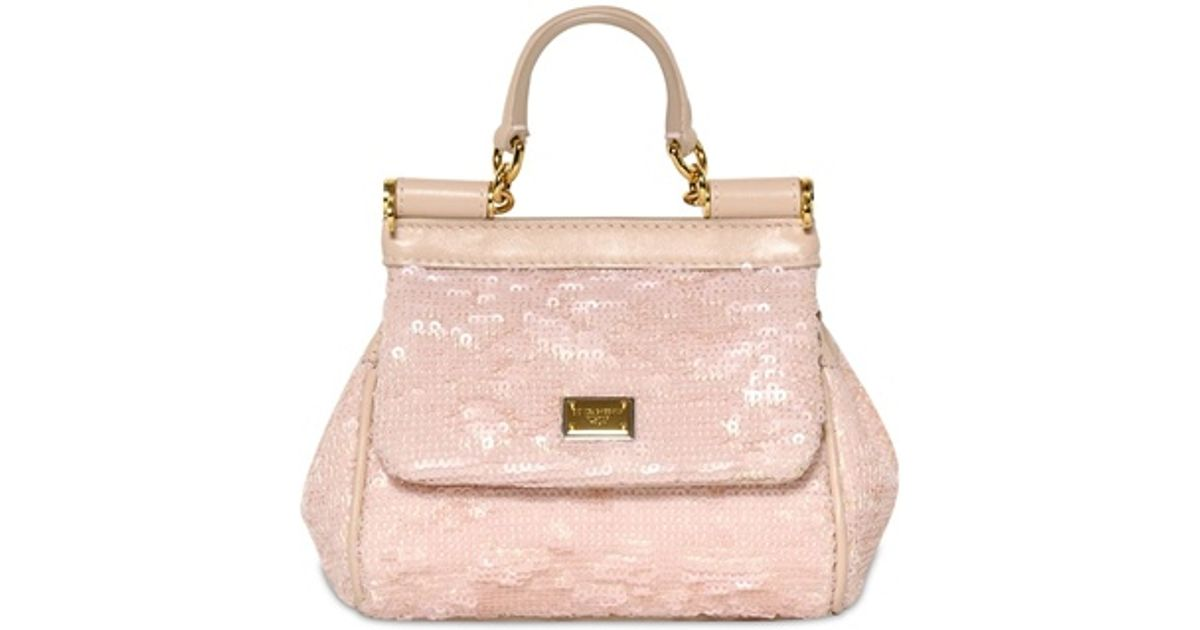 e7c9e2b3bf72 Dolce   Gabbana - Pink Mini Miss Sicily Sequined Shoulder Bag - Lyst