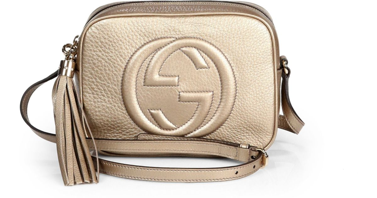 61adb0c9edd007 Gucci Soho Metallic Leather Disco Bag in Natural - Lyst