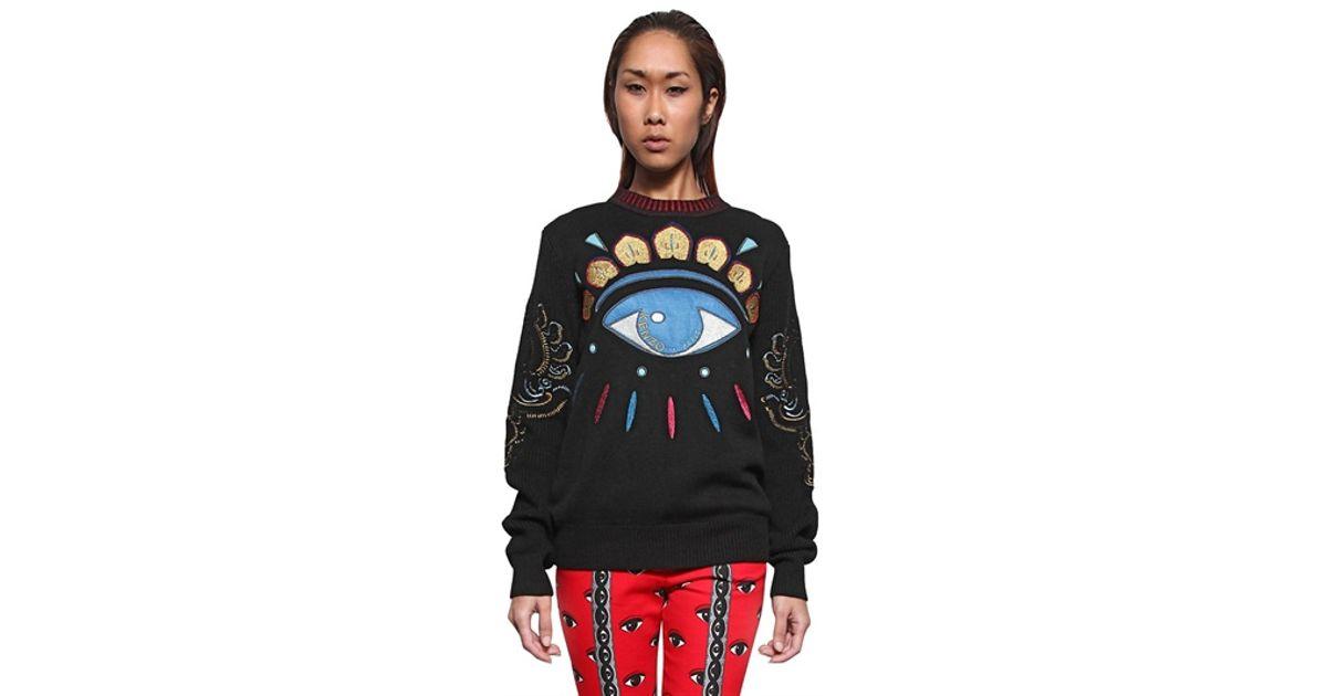 b9e7f23961 KENZO - Black Embroidered Eye Wool Knit Sweater - Lyst