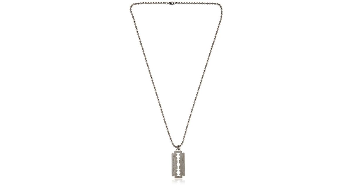 Lyst philipp plein razor blade necklace in metallic for men thecheapjerseys Choice Image
