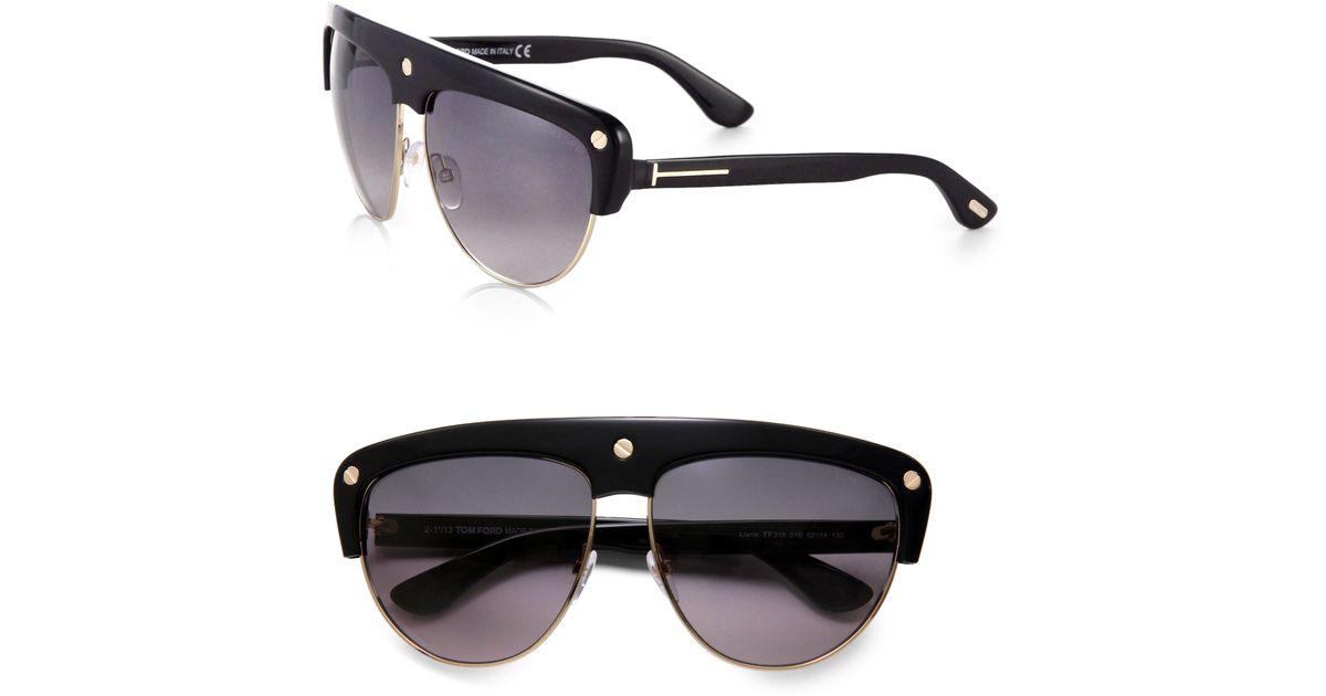 6cf202e178 Tom Ford Liane Shield Aviator Sunglasses in Black - Lyst