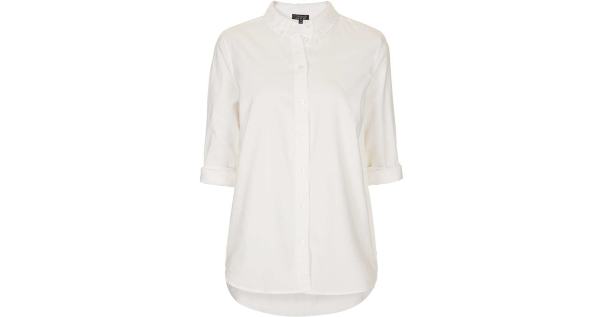 Topshop Long Sleeve Oxford Shirt in White | Lyst