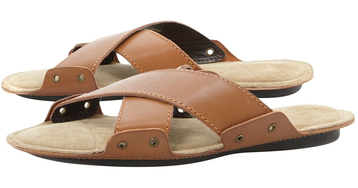 a5bf737c561 Dune Infamous Leather Cross Strap Sandals in Brown for Men - Lyst