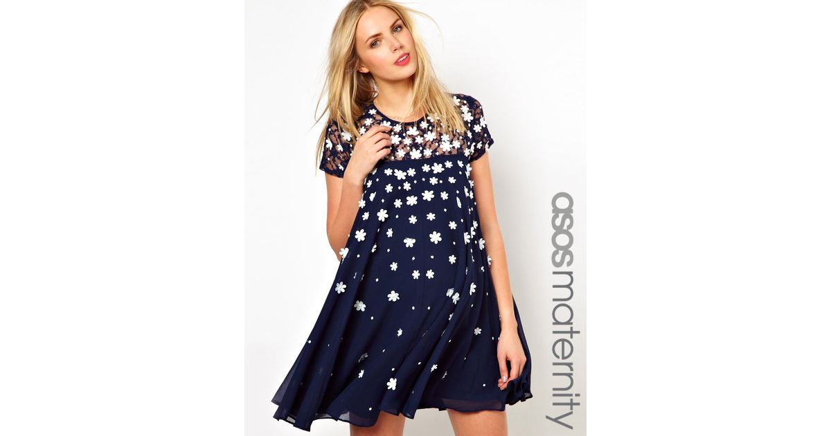 775f4cb83a068 ASOS Exclusive Swing Dress With Floral Applique And Cap Sleeve in Blue -  Lyst