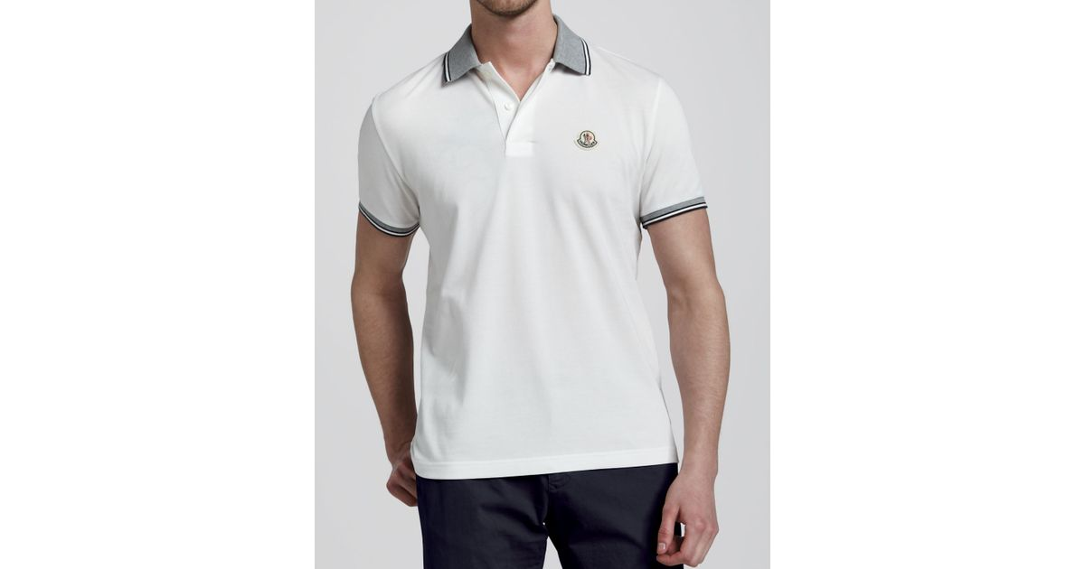 Moncler Polo Shirt White Source · Moncler Tipped Logo Polo Off White in White for Men Lyst