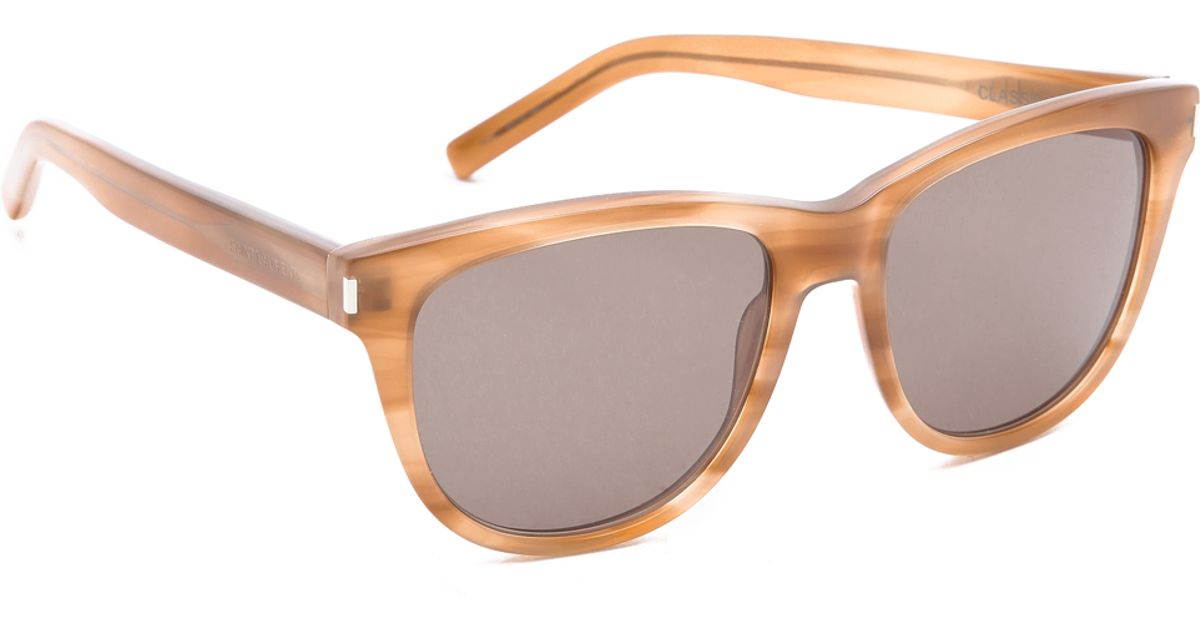 4e41370647a6 Lyst - Saint Laurent Classic Preppy Rounded Sunglasses - Honey brown in  Natural