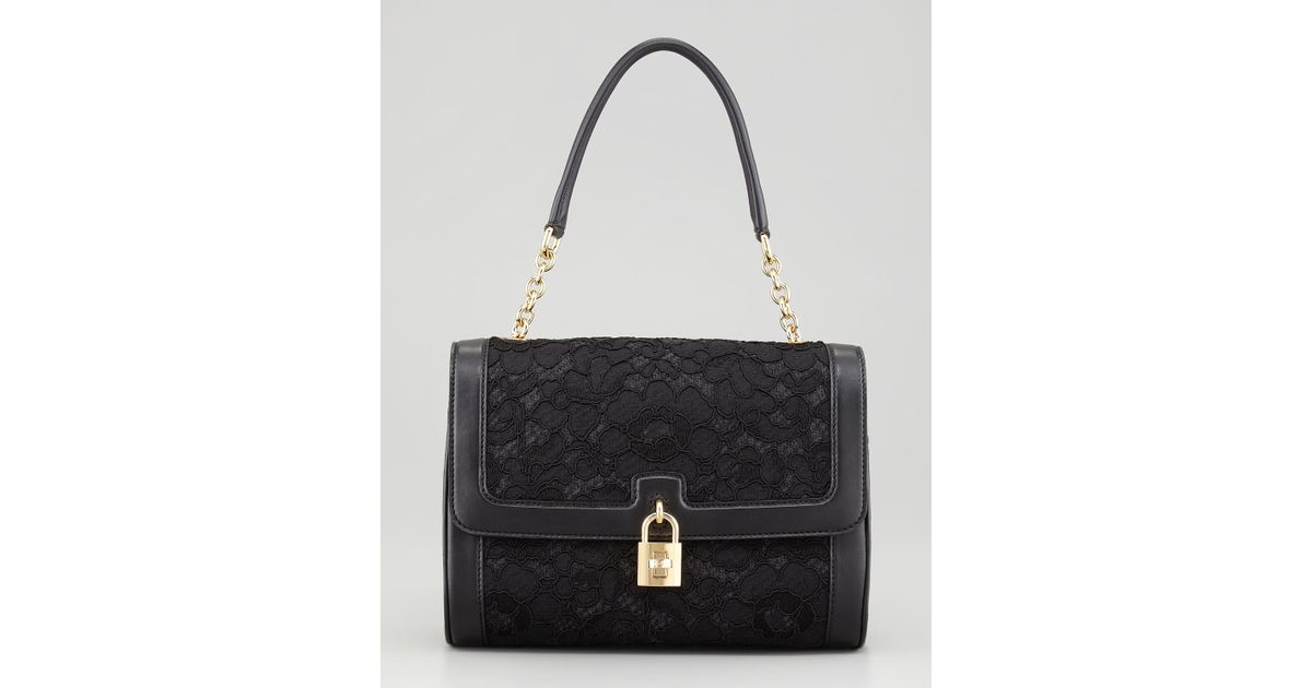 6ade5341f91a Lyst - Dolce   Gabbana Miss Dolce Lace Shoulder Bag in Black
