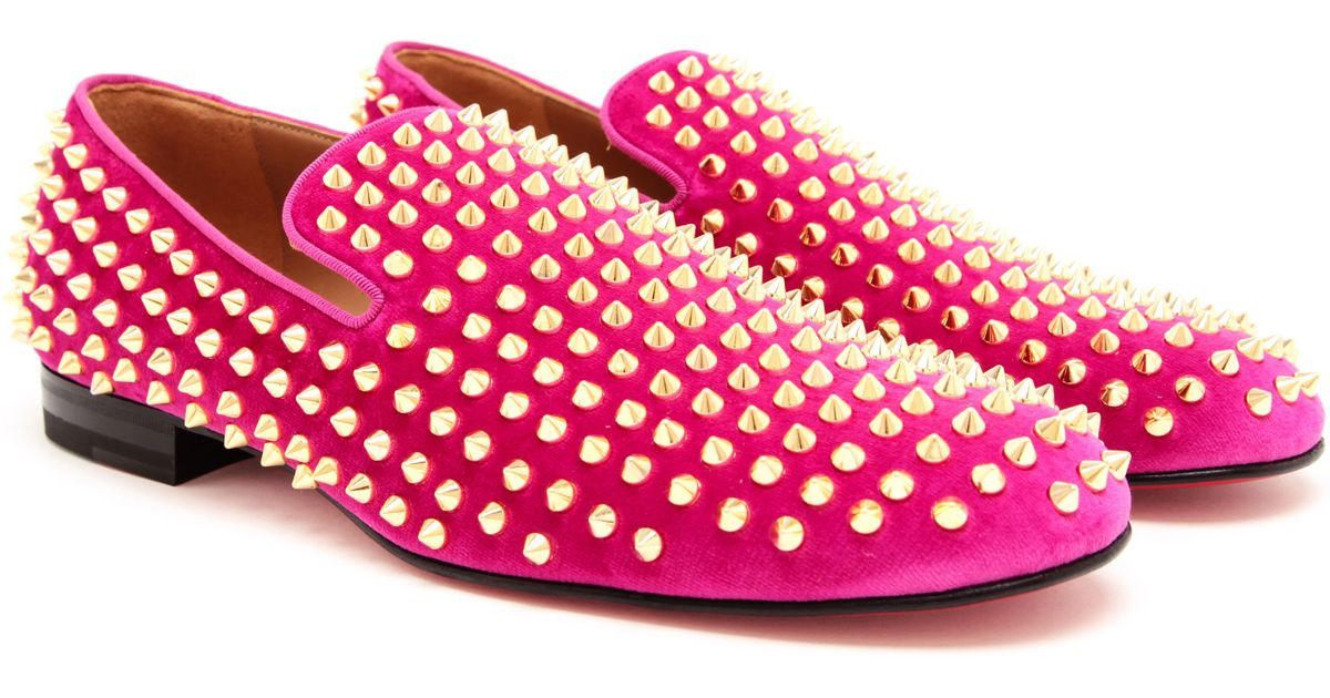 3dbbf359ee4 Christian Louboutin Roller-boys Spiked Velvet Loafers in Pink for Men - Lyst
