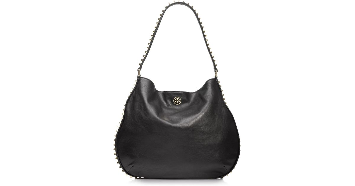 8d414920aae4 Lyst - Tory Burch Pyramid Stud Hobo in Black