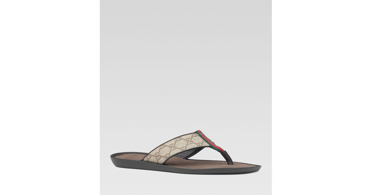 ba0742679b6722 Lyst - Gucci Gg Plus Thong Sandals with Signature Web Detail in Gray for Men