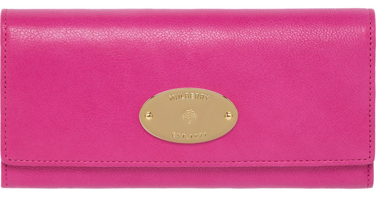 74a21d4019 new style mulberry. bow purse 9086c a3649  promo code for lyst mulberry  continental wallet in pink 41f2f d952d