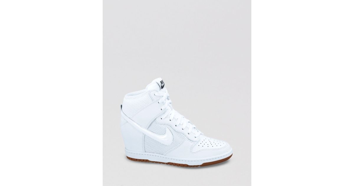 Lyst - Nike Lace Up High Top Sneaker Wedges Womens Dunk Sky Hi Mesh in White b7f871e08