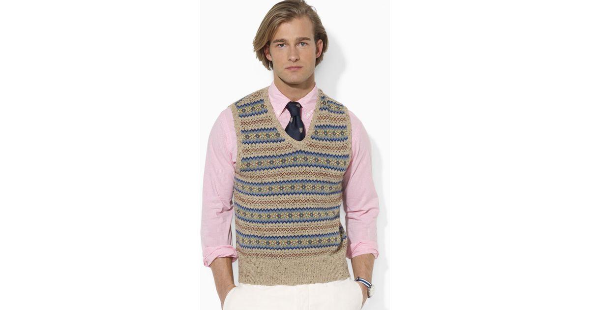 Ralph lauren Polo Fair Isle Vest in Gray for Men | Lyst