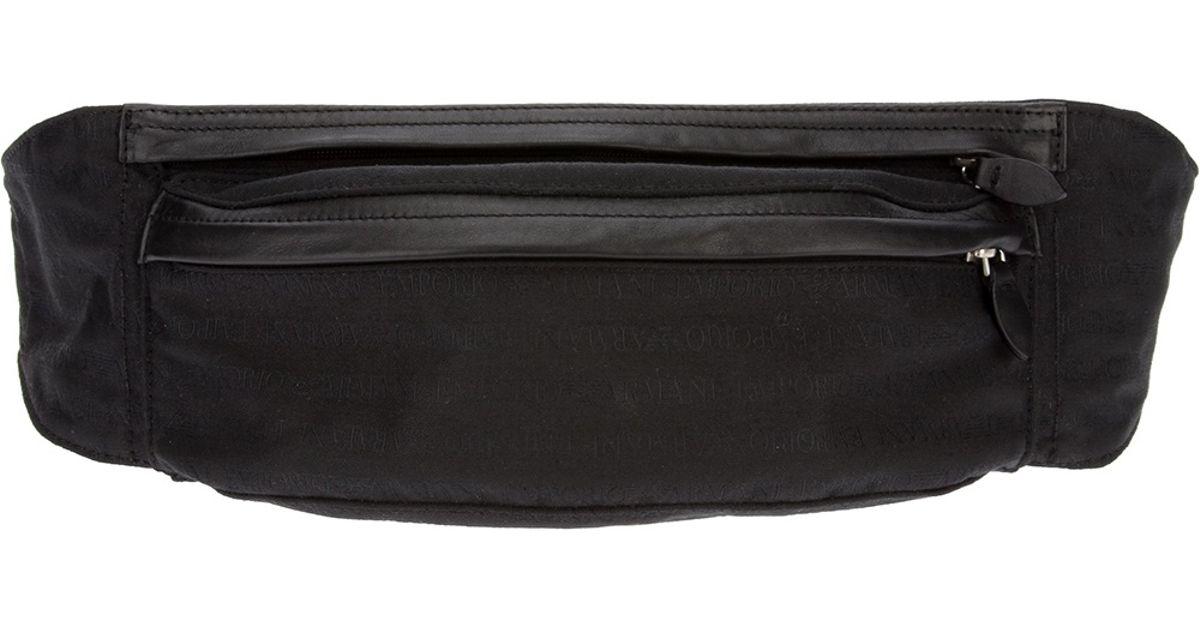 Lyst - Emporio Armani Zip Pouch Bum Bag in Black for Men 53c4213535a6e