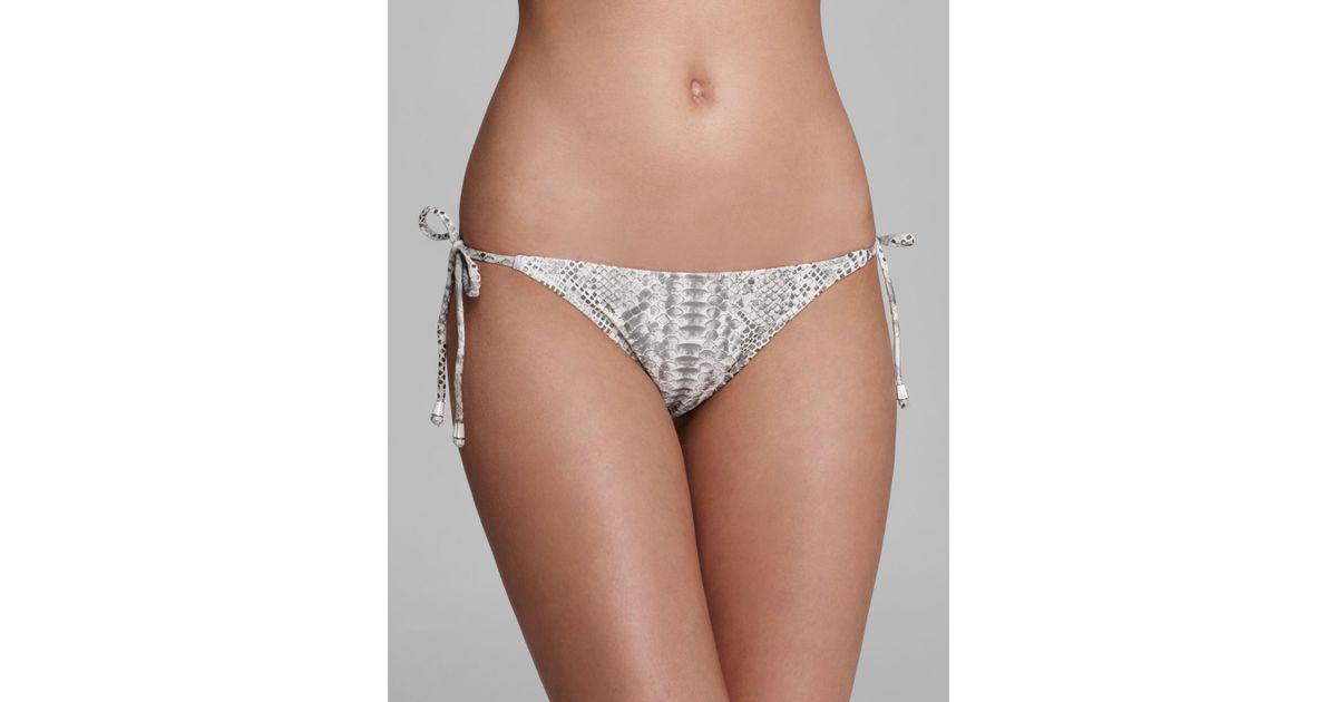 7e752c1777da0 Lyst - Pilyq Spa White Snakeskin Tie Side Bikini Bottom in Gray