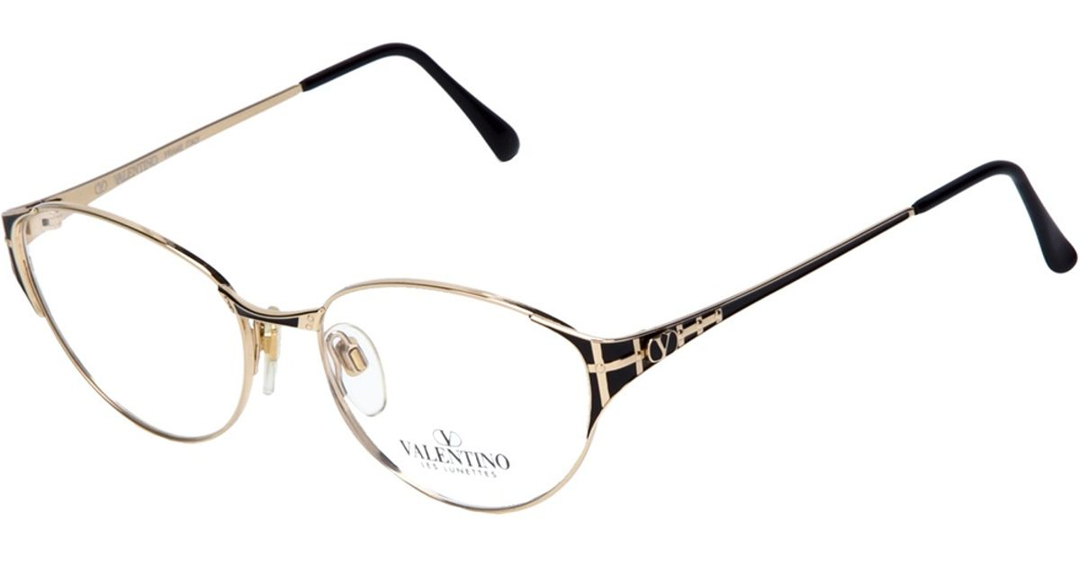 valentino square frame glasses in metallic lyst
