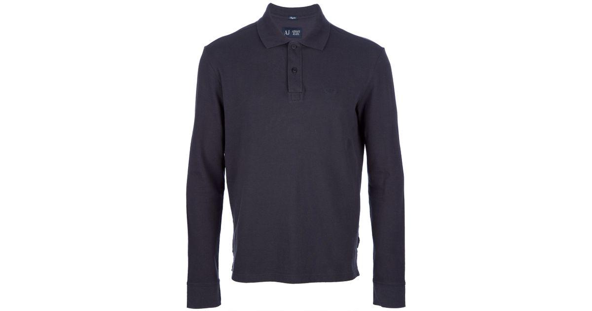 63da00dcea Armani Jeans Long Sleeve Polo Shirt in Blue for Men - Lyst