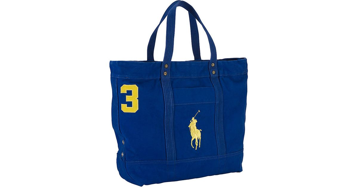 c165987850b2 Lyst - Polo Ralph Lauren Big Pony Cotton Canvas Tote Bag in Blue for Men