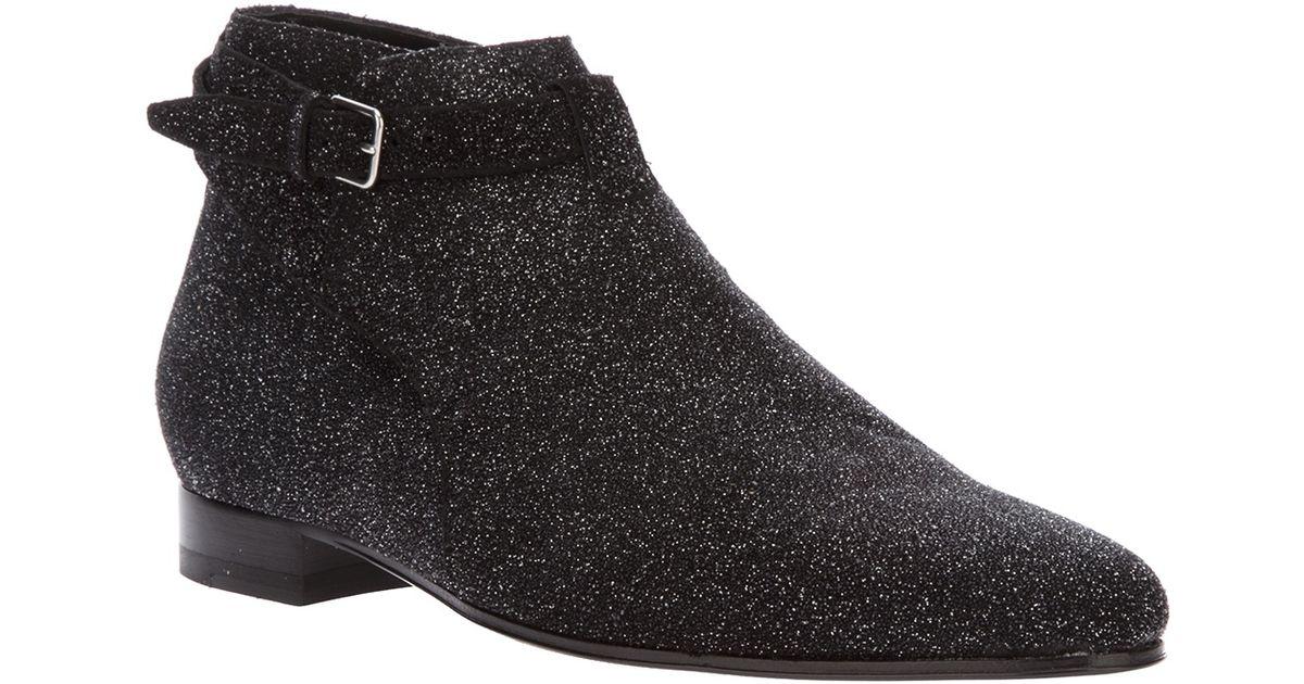 748d5999f010 Saint Laurent Glitter Boots in Black - Lyst