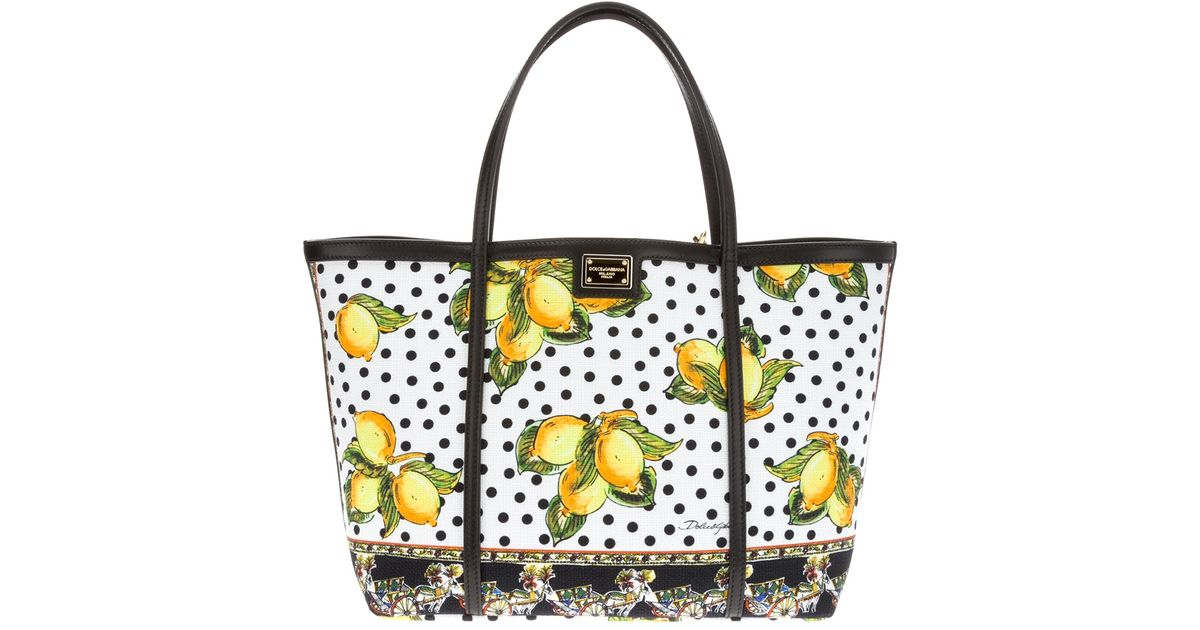 Lyst - Dolce   Gabbana Lemon Print Shopper in Yellow 603bcc27ad38d
