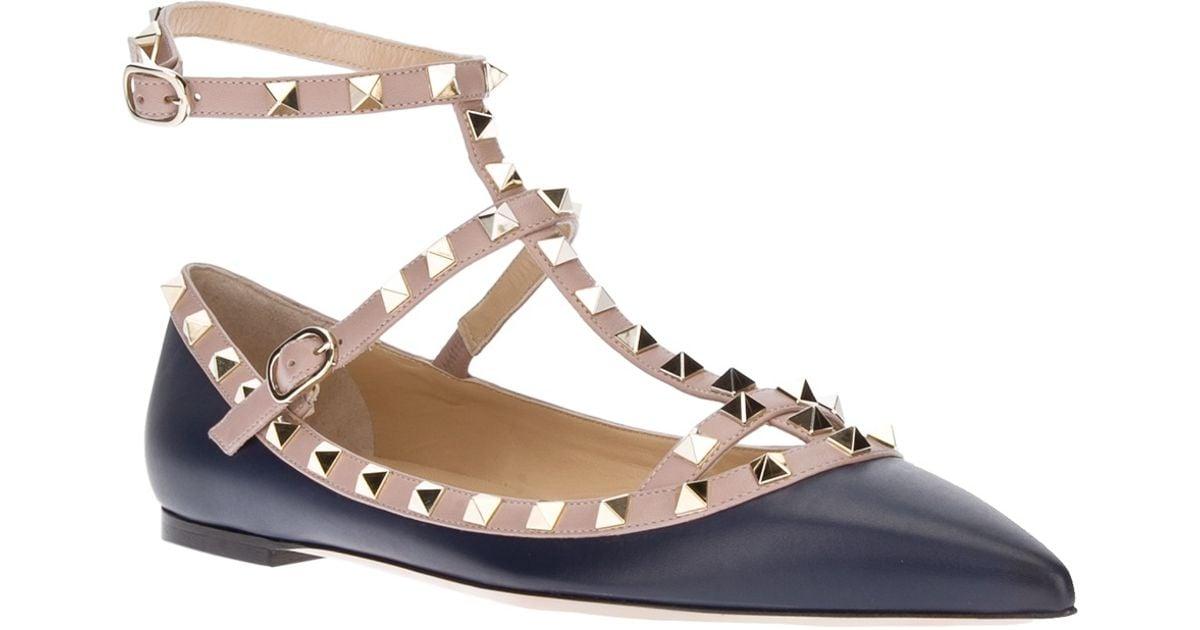 5f485137bd7a Lyst - Valentino Rockstud Flat Sandal in Black