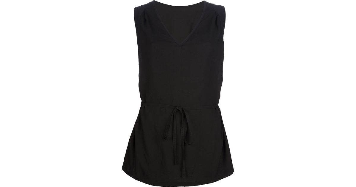 fb4505bbedf Ann Demeulemeester - Black Tied Waist Sleeveless Blouse - Lyst