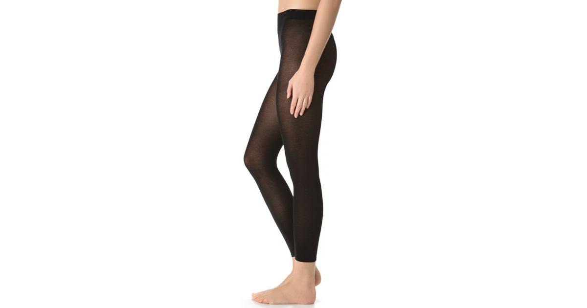 661562c1a Falke Cotton Touch Footless Tights in Black - Lyst