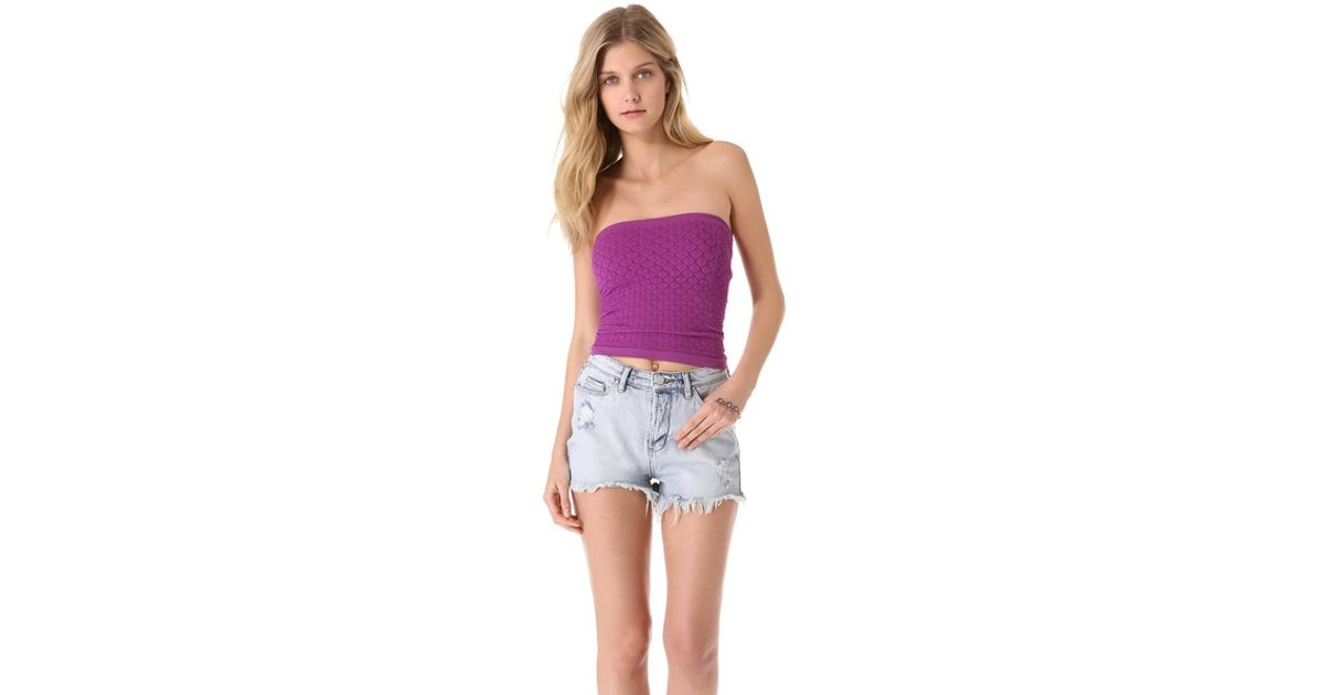 b2d5e4be19af Lyst - Free People Seamless Diamond Textured Tube Top in Purple