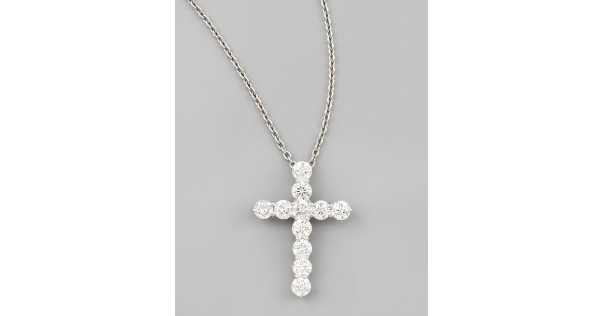 Lyst roberto coin 16 white gold lg diamond cross pendant necklace lyst roberto coin 16 white gold lg diamond cross pendant necklace in metallic aloadofball Choice Image