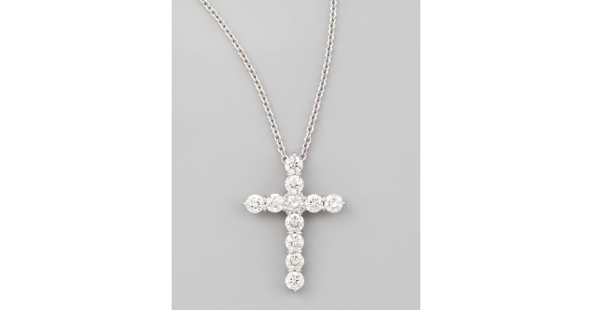 Lyst roberto coin 18 white gold diamond cross pendant necklace in lyst roberto coin 18 white gold diamond cross pendant necklace in metallic aloadofball Image collections